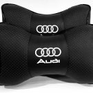 2 Pillow Headrest NeckRest Comfortable Cushion Pad with Logo Audi Genuine PU Leather