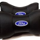 Leather Breathable 2pcs Neck Rest Headrest Support Cushion Pillow with Logo FORD