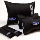 One Set 5units Genuine PU Leather Car Full Cover Pillow Cushion Pad Logo FORD Headrest Back Rest