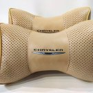 Headrest 2pcs Pillow Cushion PU Leather Breathable Pilow with Logo Chrysler Neck Rest Pad