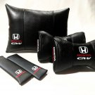 Auto Pillow Set 5units Genuine PU Leather Car Full Cover Cushion Pad Logo Honds CR-V Headrest
