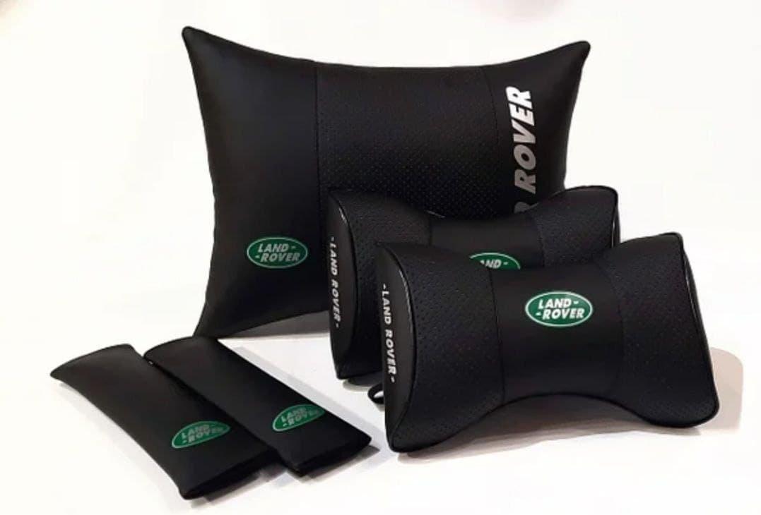 Auto Pillow Back Rest 5units Headrest Set Logo Land Rover Genuine PU Leather Car Full Cushion Pad