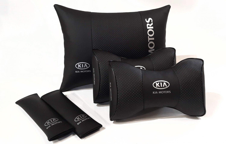 Auto Pillow Back Rest 5units Headrest Set Logo KIA Motors Car Full Cover Genuine PU Leather