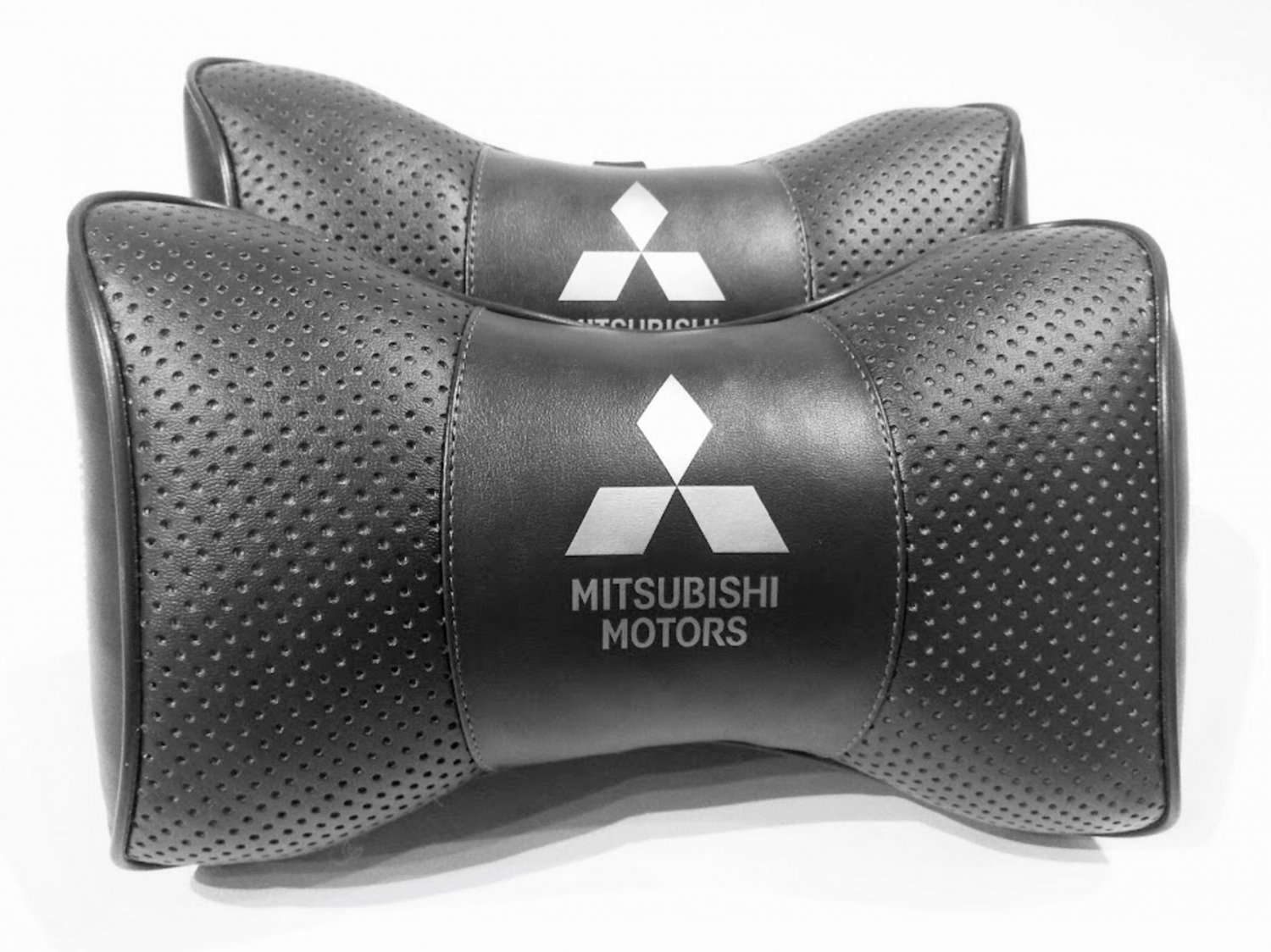 Auto 2pcs Headrest Pillow Cushion Logo Mitsubishi PU Leather Breathable Pilow