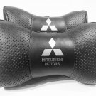 Auto 2pcs Headrest Pillow Cushion Logo Mitsubishi PU Leather Breathable Pilow