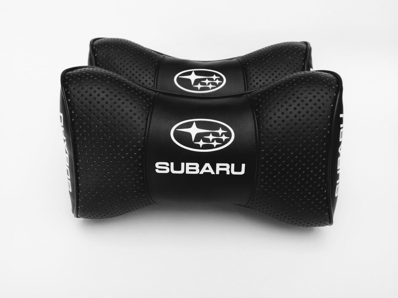 Auto Car 2pcs Headrest Pillow Cushion Logo Subaru PU Leather