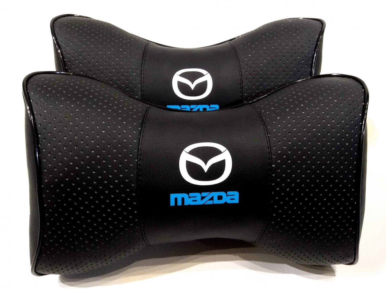 Headrest 2units Auto Pillow Cushion PU Leather Breathable Logo Mazda