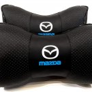 Headrest 2units Auto Pillow Cushion PU Leather Breathable Logo Mazda