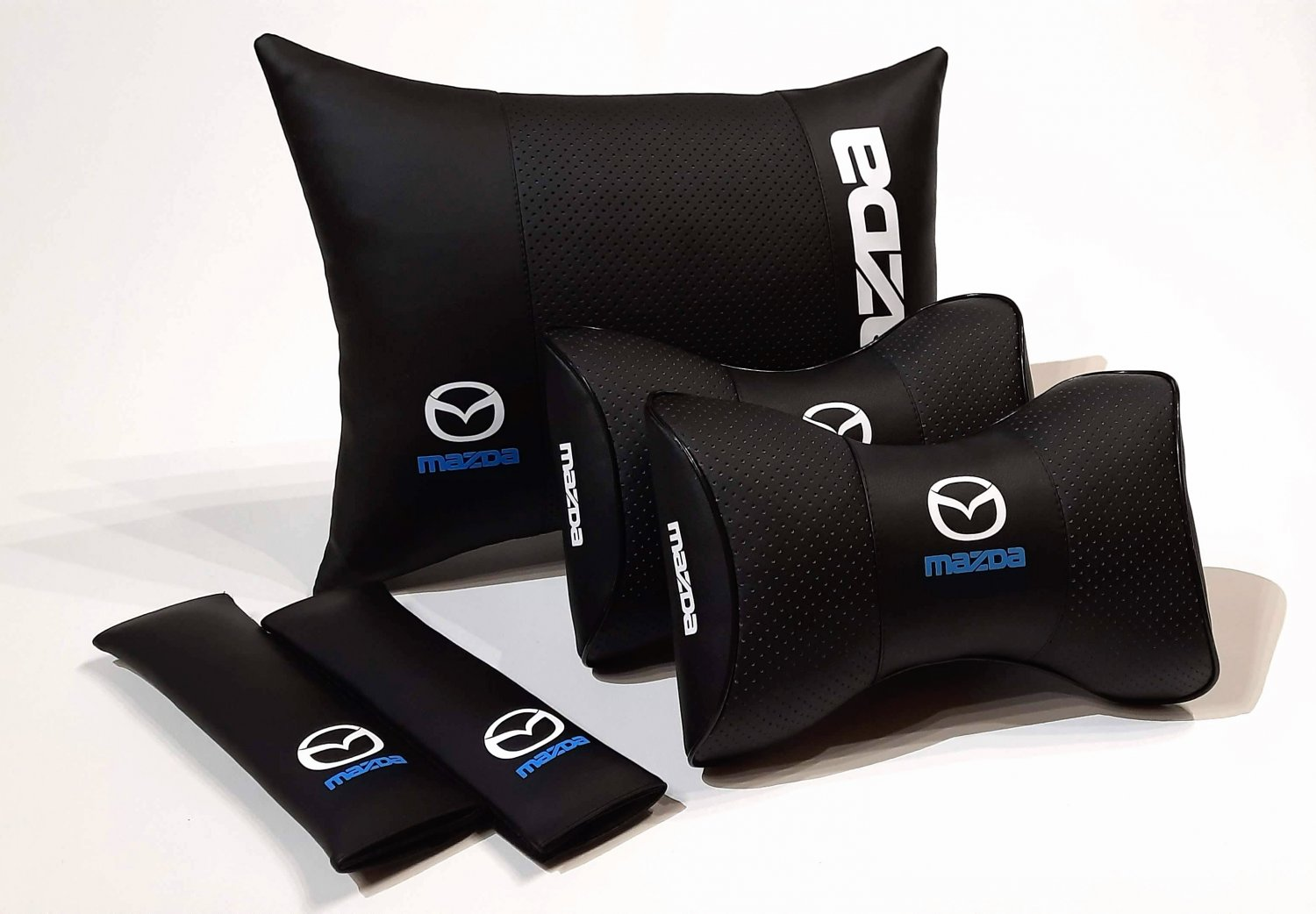 5units Auto Pillow Headrest Back Rest Set Logo Mazda Orthopedic Comfortable Seat