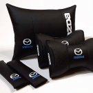5units Auto Pillow Headrest Back Rest Set Logo Mazda Orthopedic Comfortable Seat