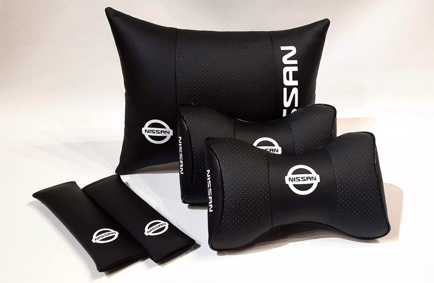 Headrest Back Rest Auto Pillow Set 5units Logo Nissan Genuine PU Leather