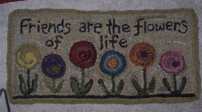 FLOWERS OF LIFE - Rug Hooking pattern on linen