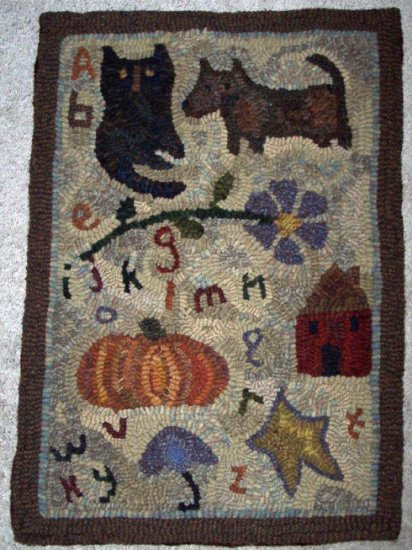Abc Sampler Primitive Rug Hooking Pattern On Linen