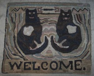 WELCOME KATS - Primitive Rug Hooking Pattern on Linen