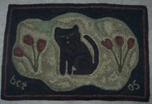 POSY KITTY - Primitive Rug Hooking pattern on Linen