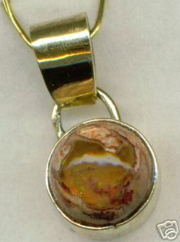 One of a Kind 14. Gold Fire Opal Pendant Mans or Ladies