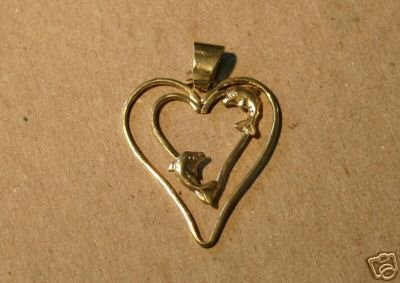One of Kind Double Heart Dophin Pendant 10 kt. Gold
