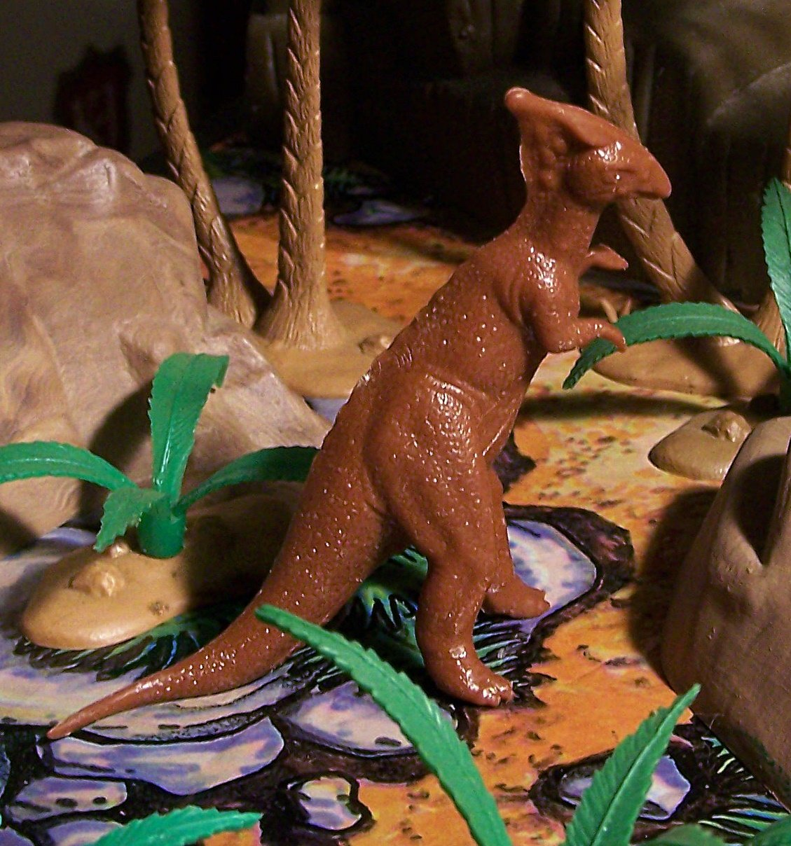 "Marx (1961/1970s"") Parasaurolophus Dinosaur Waxy Chocolate Brown (5-5-21)"