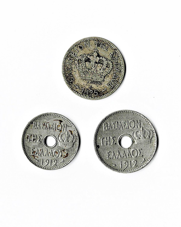 Greece, 1895 & 1912 Lepta, 3 Different (8-22-21)
