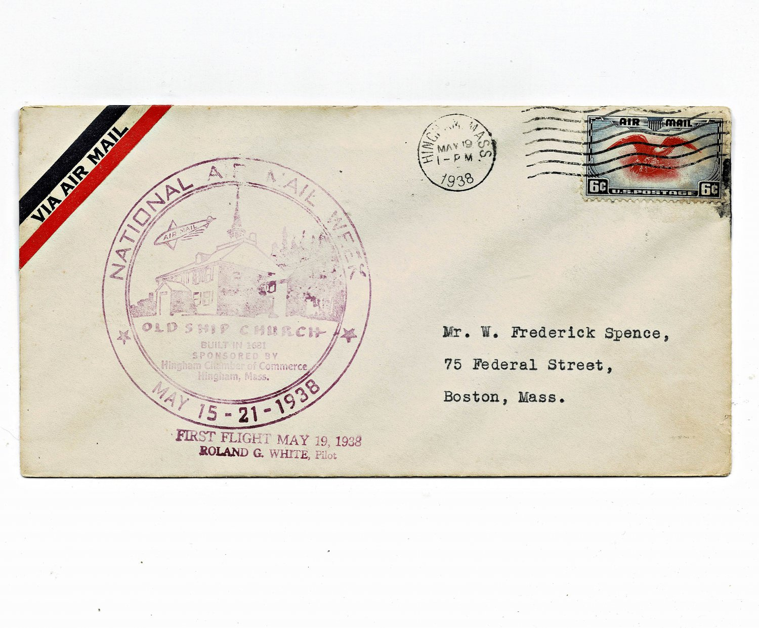 1938 National Air Mail Week, Hingham, Mass w/#C23, No Letter (9-11-21)