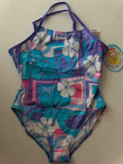 New Girl's Angel Beach Purple floral one piece swimsuit size 10