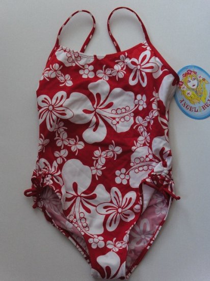 New Girl's size 10 Angel Beach red and white one piece swimsuit