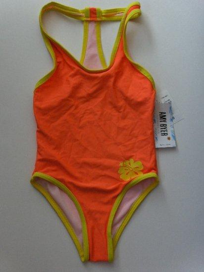 New Girls size 12 Amy Byer bright orange one piece swimsuit