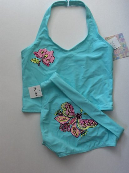 New Girls Coral Cove Turquoise two piece swimsuit bikini size 12