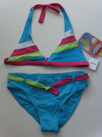 New Girls Breaking Waves 2 piece swimsuit bikini size 14