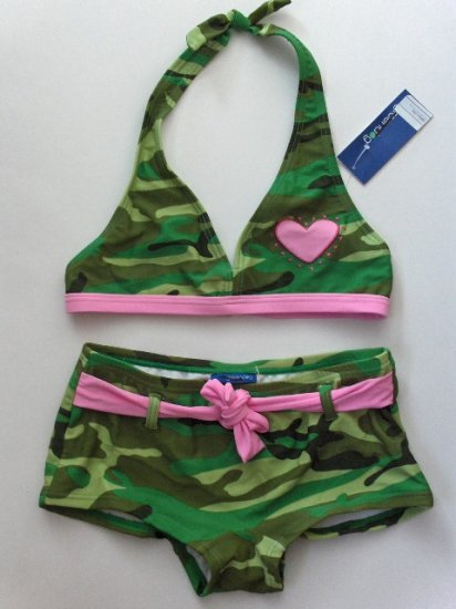 New Girls Green Dog camo two piece bikini swimsuit size 12