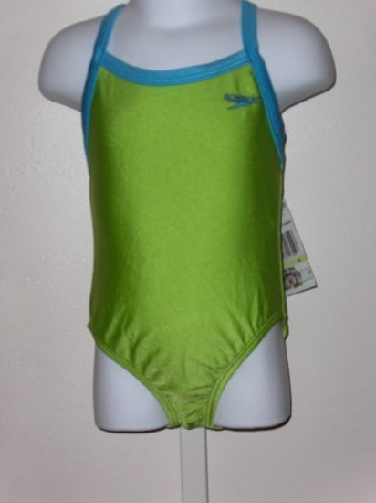 New Girls Speedo Bright Green one piece swimsuit size 4