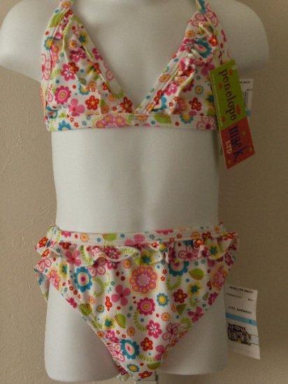 New girls 4T toddler Penelope Mack two piece floral swimsuit bikini