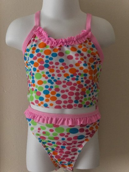New girls 4T/4 Green Dog polka dot two piece swimsuit