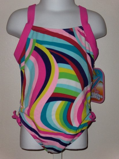 New Breaking Waves multi striped wave�s One piece swimsuit size 6X