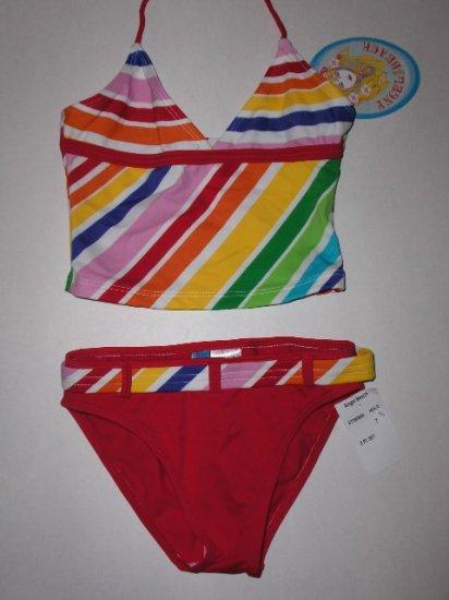 New Angel Beach Girls two piece multi colored bikini size 7