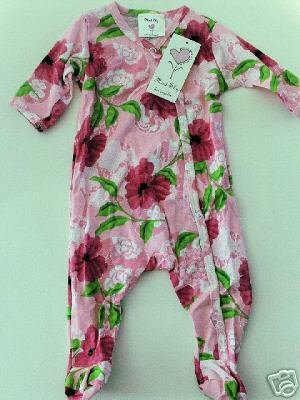 New Mad Sky Palm Beach floral footie outfit one piece infant girl 9 months