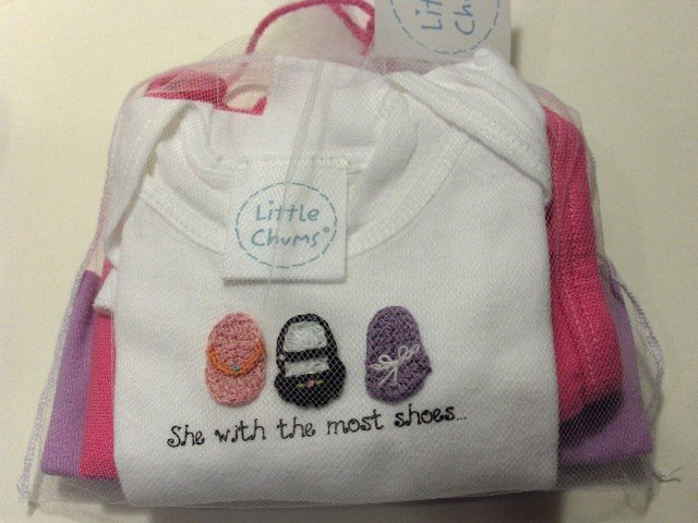 "New Best of Chums Gift set ""She with the most shoes"" white tee three piece set baby girl 6 months"