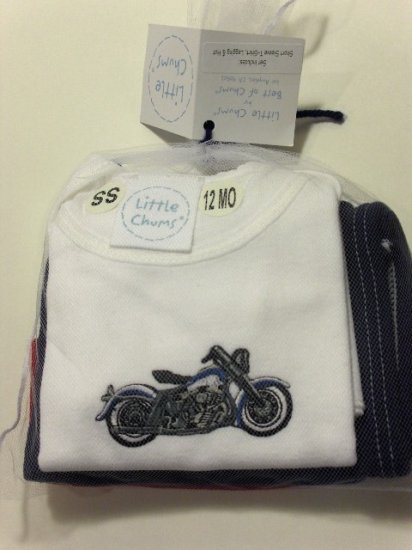 "New Best of Chums ""Born to Ride"" white shirt set size boys infant baby 12 months gift"