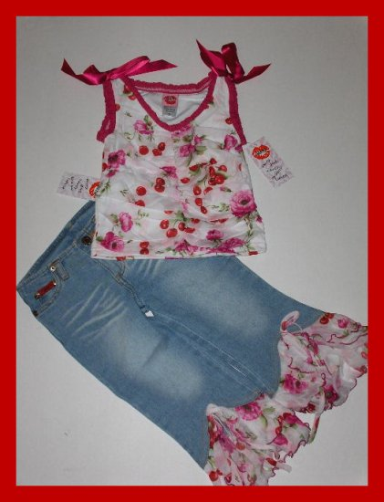 sale New Lipstik cherry floral tank jean flounce capri girls size 6