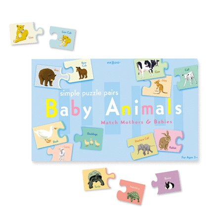 New eeBoo Baby Animals Puzzle Match Mothers &Babies ages 3+