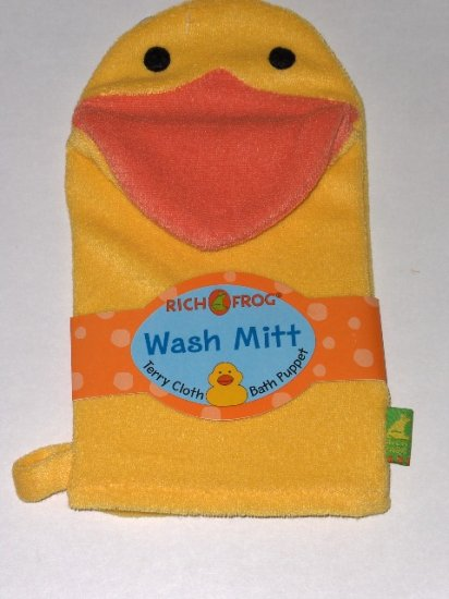 New Rich Frog Wash Mitt Terry Cloth Bath Puppet Yellow Duck