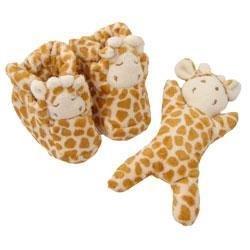 New Angel Dear by Fun Bath giraffe booties and rattle gift set -0-6 months
