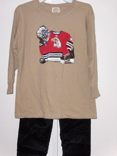 New Wes and Willy LS tan tee with Hockey Eagle design Black Cord Pants boys size 6