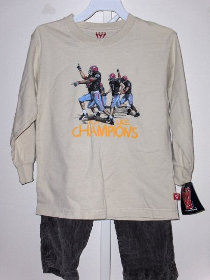 New Wes and Willy Play Like Champions LS tee Gray Cord Pants boys size 4