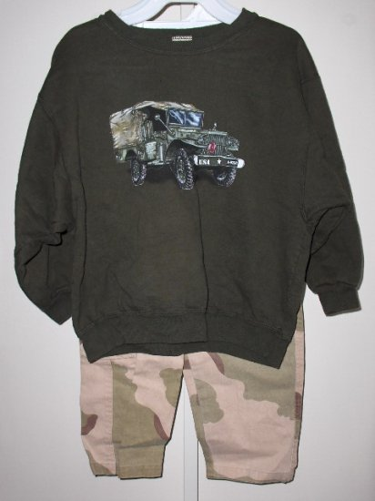 New Wes and Willy LS Moss Green American Born shirt Camo pants boys size 7