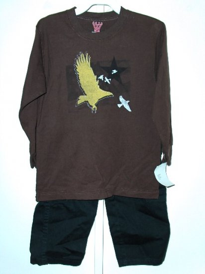New Wes and Willy LS Bird shirt Black cargo pants boys size 5