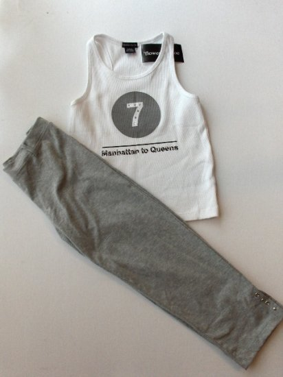 New Big Girls Flowers By Zoe size XL Manhattan to Queens White tank size XL Grey pants