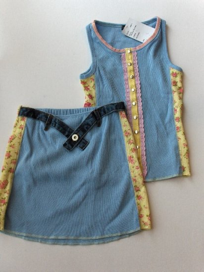 New Big Girls Flowers by Zoe size L blue floral tank with matching skirt size L