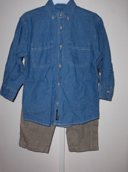 New Wes and Willy Boys size 4 jean shirt corduroy pants set