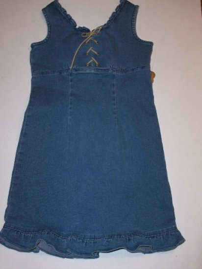 New K.C. Parker by Hartstrings girls denim sundress size 8